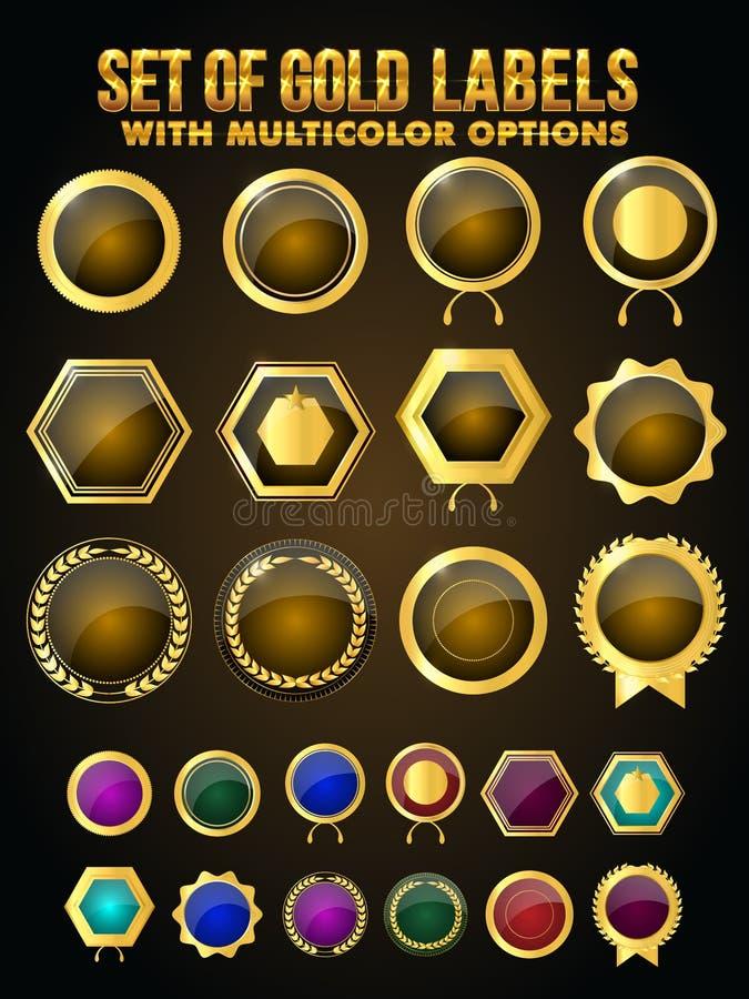 Samling av guldetiketter, klistermärkear, emblem stock illustrationer