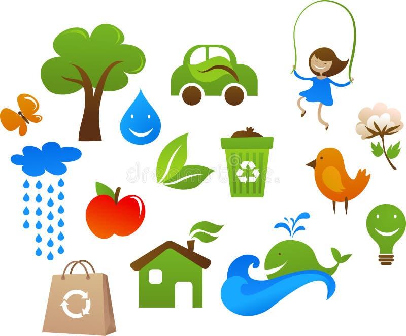 Samling av gulliga ekologisymboler royaltyfri illustrationer