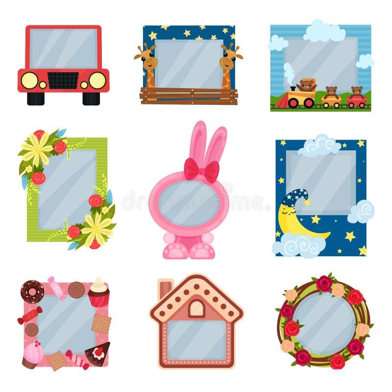Samling av gulliga fotoramar för pojkar och flickor, albummallar för ungar med utrymme för foto eller text, kort, bild stock illustrationer
