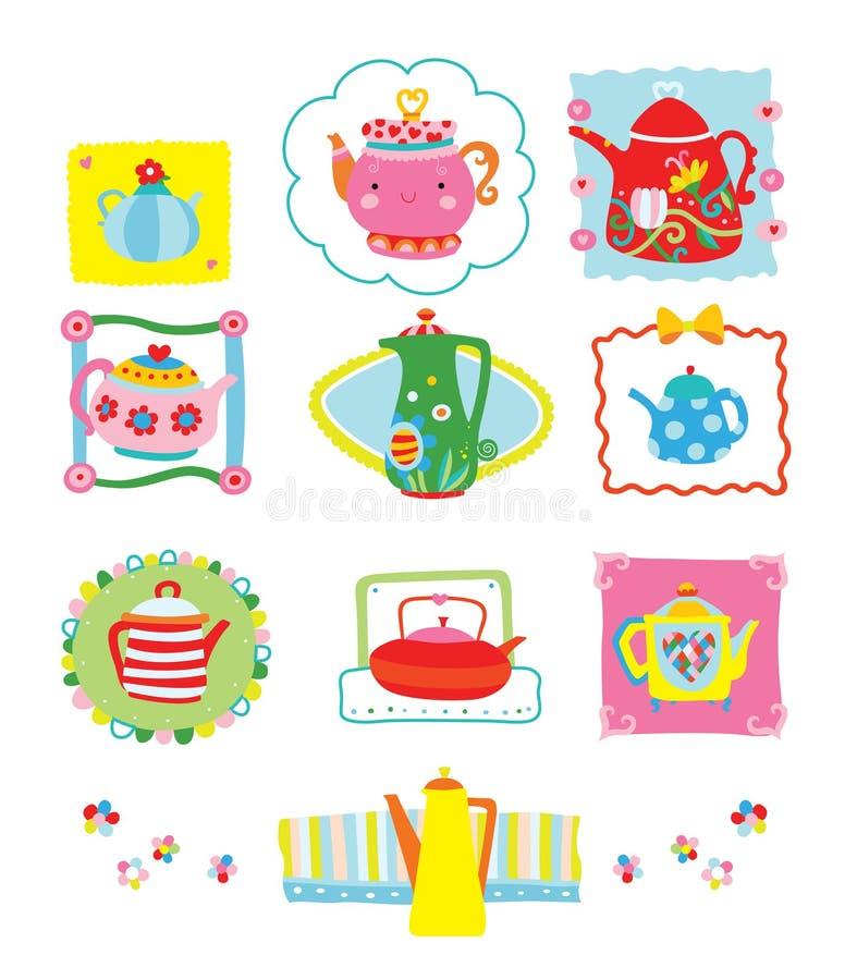 Samling av gulliga och färgrika tekannor stock illustrationer