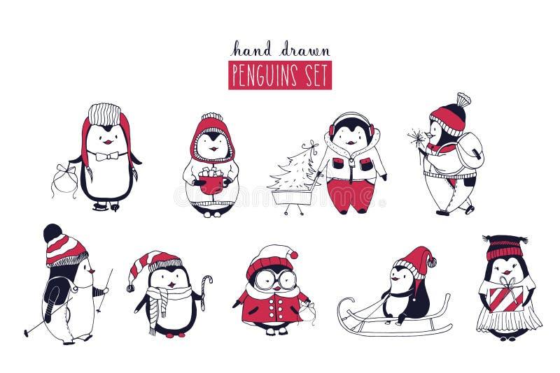 Samling av gulliga pingvin som bär olika vinterkläder och hattar som isoleras på vit bakgrund Uppsättning av tecknade filmen royaltyfri illustrationer
