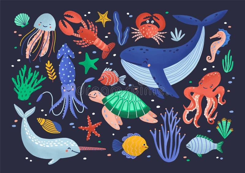 Samling av gulliga roliga le marin- djur - isolerade däggdjur, reptilar, molluskar, skaldjur, fisk och manet stock illustrationer