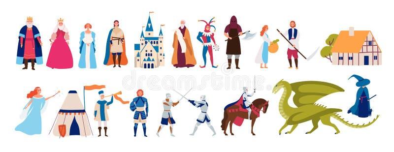 Samling av gulliga roliga manliga och kvinnliga tecken och objekt och monster från medeltida saga eller legend som isoleras på stock illustrationer