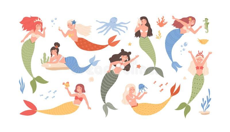 Samling av gulliga roliga sjöjungfruar som isoleras på vit bakgrund Packe av den förtjusande sagan eller det mytologiska havet stock illustrationer