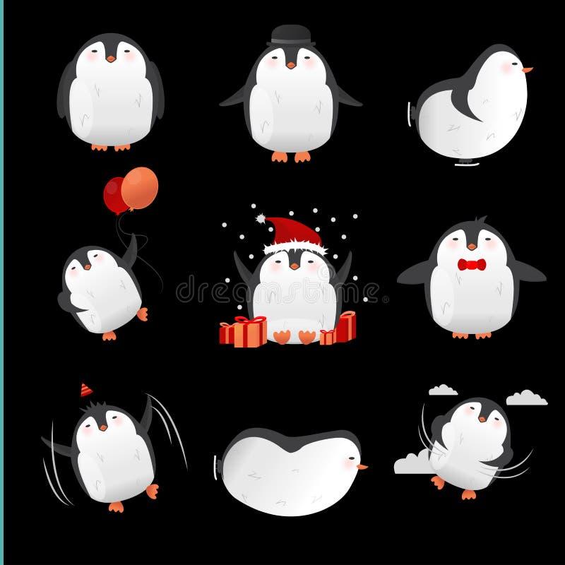 Download Samling Av Gulliga Tecknad Filmpingvintecken Vektor Illustrationer - Illustration av element, pingvin: 78725054