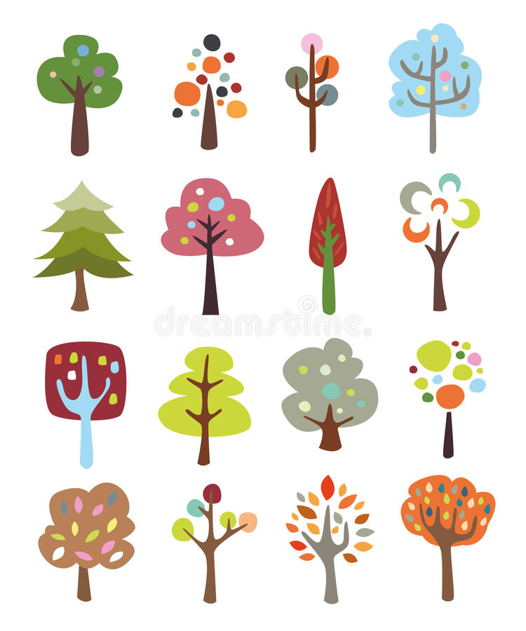 Samling av gulliga träd royaltyfri illustrationer
