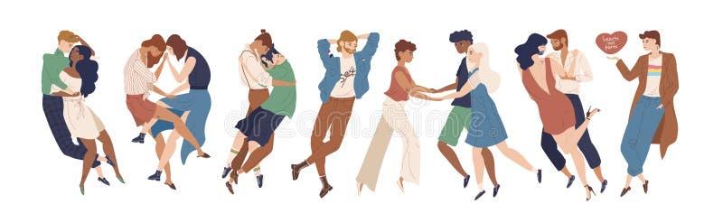 Samling av gulliga ungdomarsom visar romantiker och den sexuella dragningen till andra Heterosexuellt homosexuellt vektor illustrationer