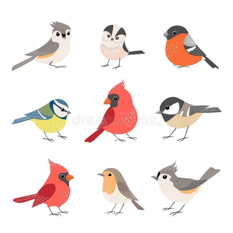 Samling av gulliga vinterfåglar stock illustrationer