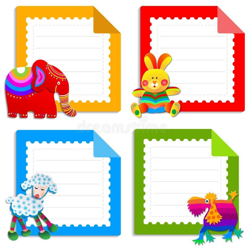 Samling av hälsningkort för ungar stock illustrationer