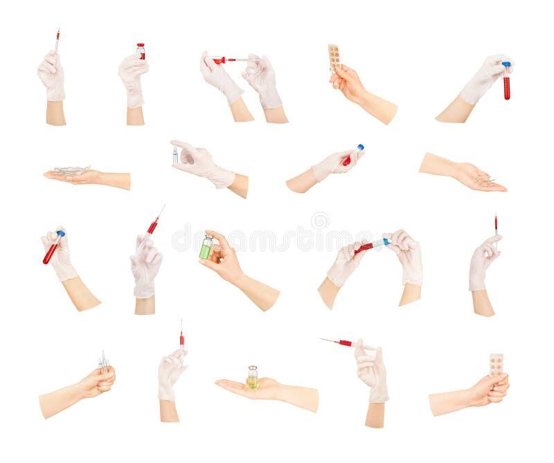 Samling av händer med medicinska hjälpmedel arkivfoto