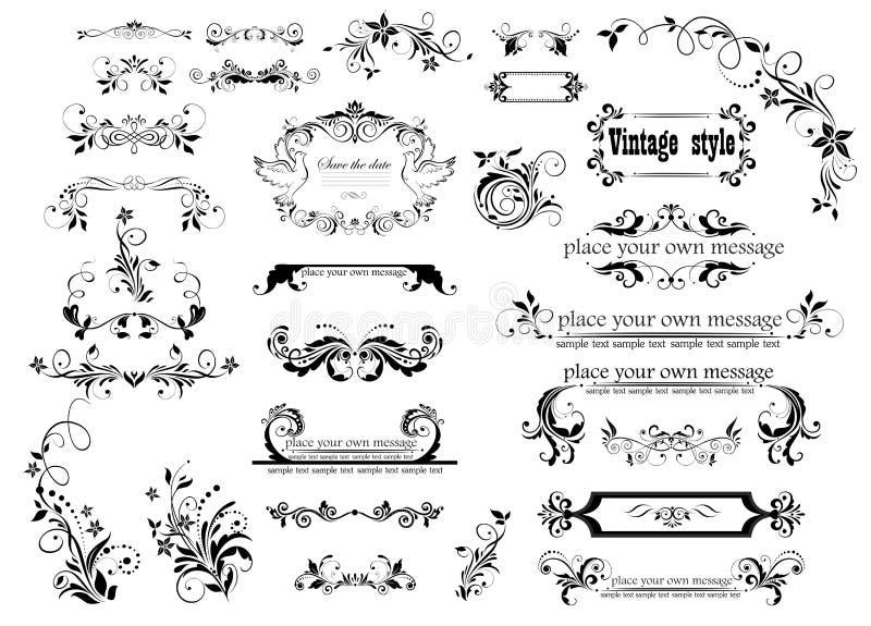 Samling av härliga blom- ramar, karaktärsteckning och titelrader för att gifta sig design vektor illustrationer