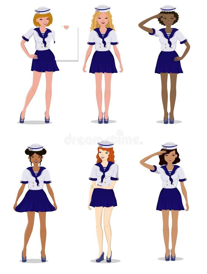 Samling av härliga flickor i form av en stilfull sjöman, vektorillustration royaltyfri illustrationer