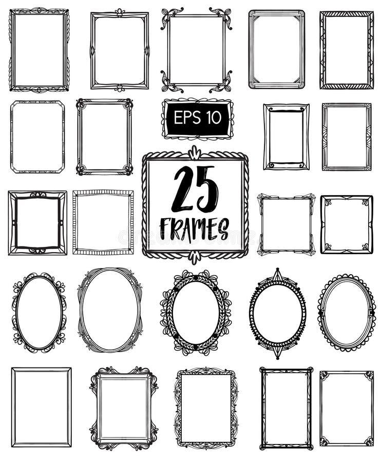 Samling 25 av härliga handattraktionramar tappning för stil för illustrationlilja röd stock illustrationer