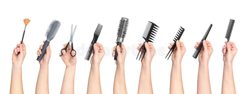 Samling av hållande hjälpmedel för händer för hårsalong royaltyfri bild