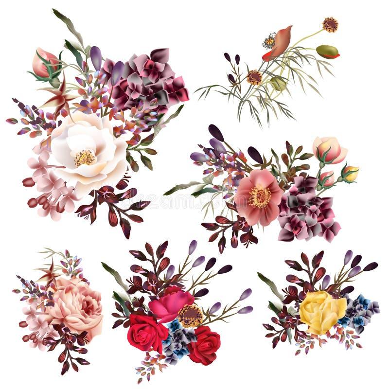 Samling av höga detaljerade blommor för vektor i realistisk stil fo vektor illustrationer