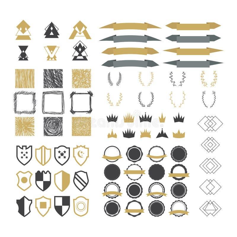 Samling av högvärdiga designbeståndsdelar Uppsättning av band som är geometrisk vektor illustrationer