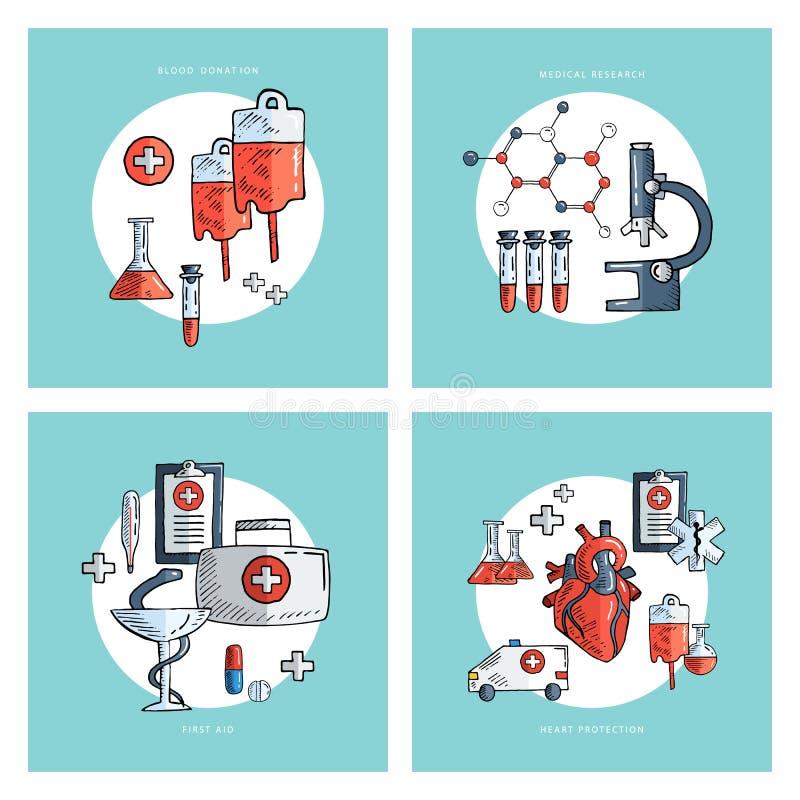 Samling av hand drog medicinska symboler läkarundersökning för bakgrundsbloddonation oljedosering Sjukvård och medicinsk forsknin royaltyfri illustrationer