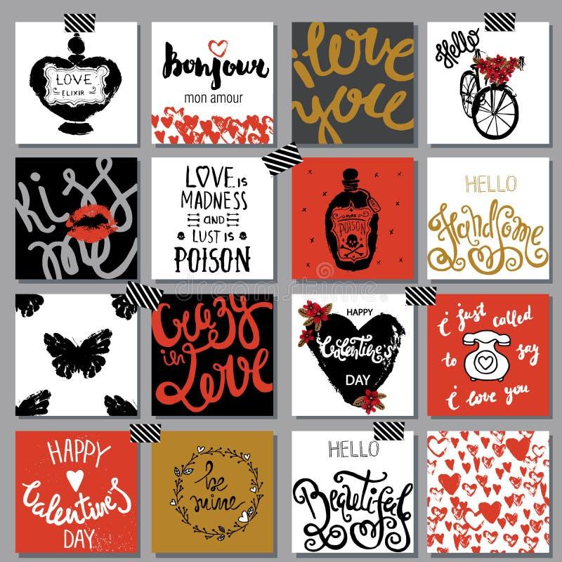 Samling av hand drog romantiska kort Valentin dagbackgro royaltyfri illustrationer