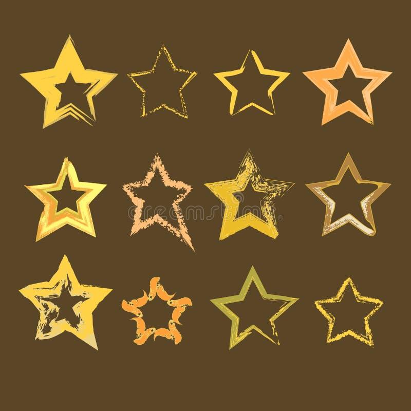 Samling av hand drog stjärnor royaltyfri illustrationer