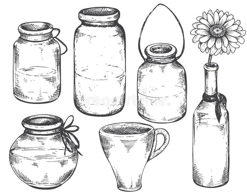 Samling av hand drog vaser och krus stock illustrationer