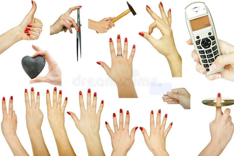 Samling av handgester med olika begrepp som isoleras på vit bakgrund royaltyfri bild