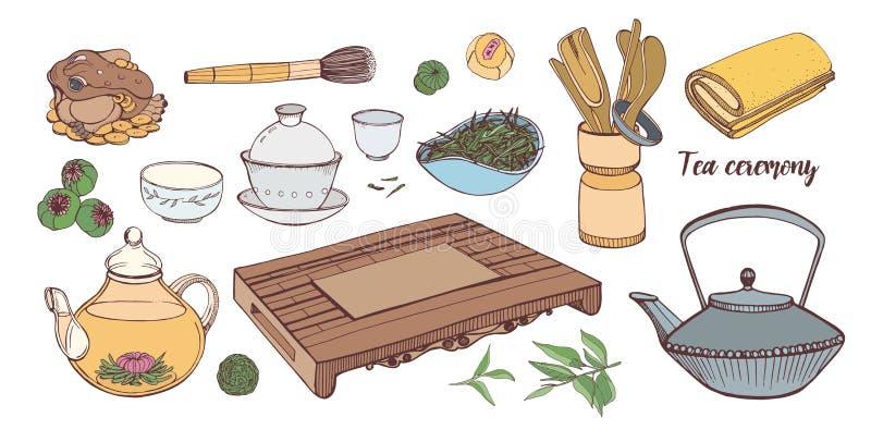 Samling av hjälpmedel för traditionell asiatisk teceremoni som isoleras på vit bakgrund - tekanna, koppar eller bunkar, tetsubin stock illustrationer