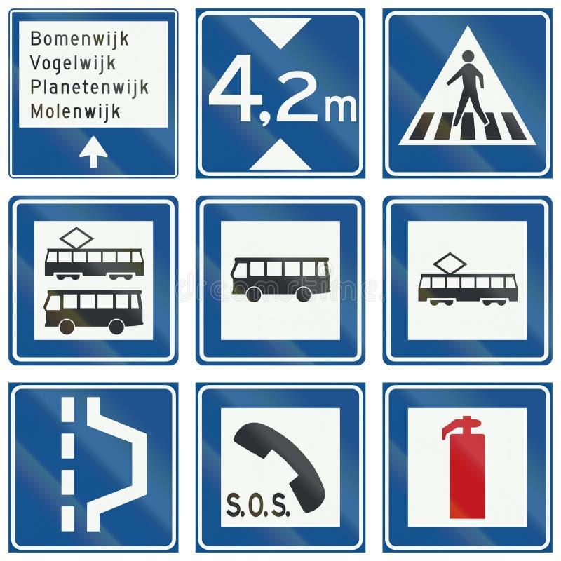 Samling av holländska informativa vägmärken vektor illustrationer