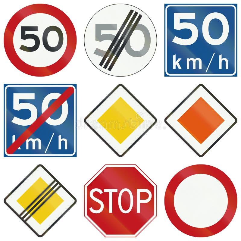 Samling av holländska reglerande vägmärken royaltyfri illustrationer