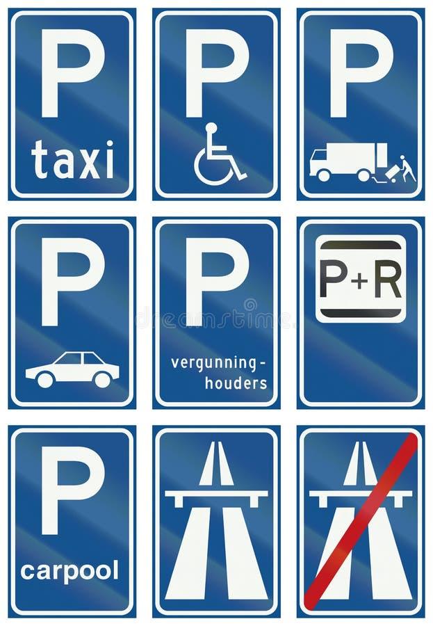 Samling av holländska reglerande vägmärken vektor illustrationer