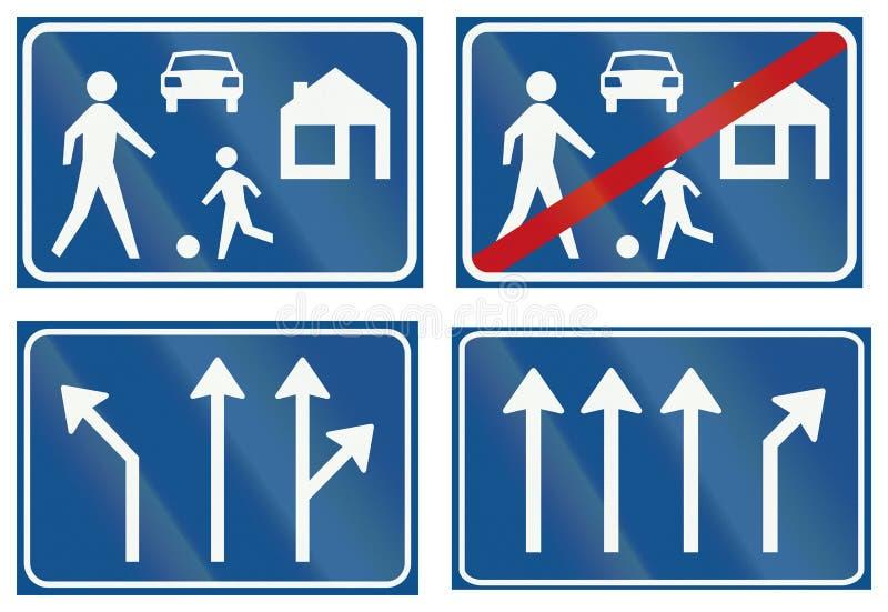 Samling av holländska reglerande vägmärken stock illustrationer