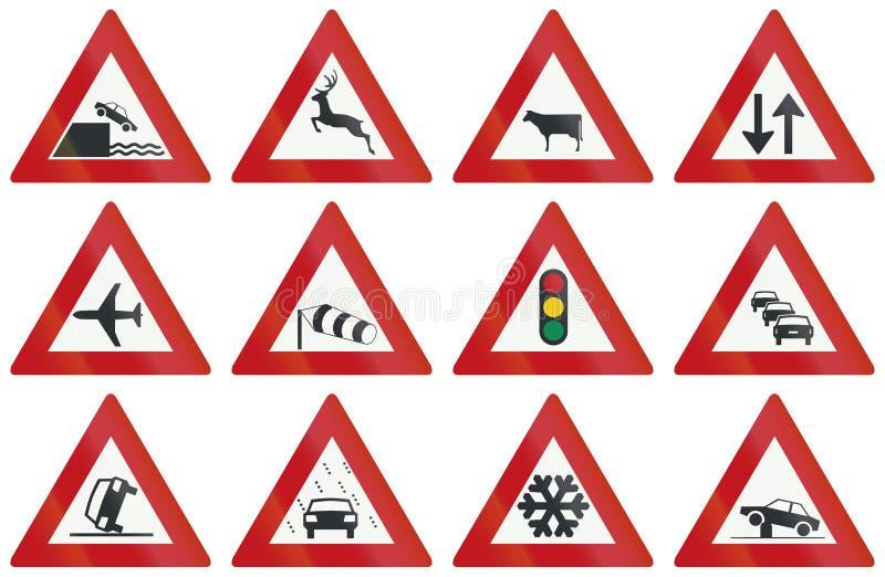 Samling av holländska varningsvägmärken vektor illustrationer