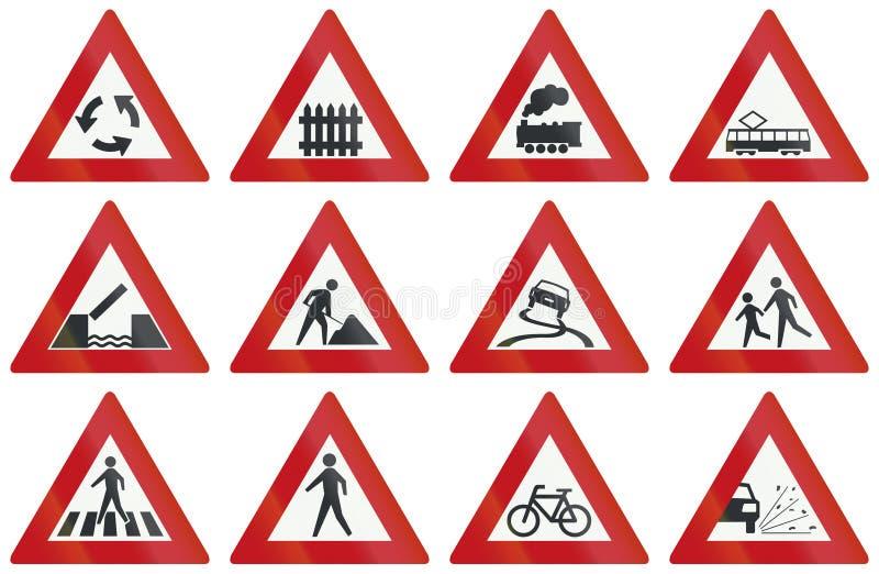 Samling av holländska varningsvägmärken royaltyfri illustrationer