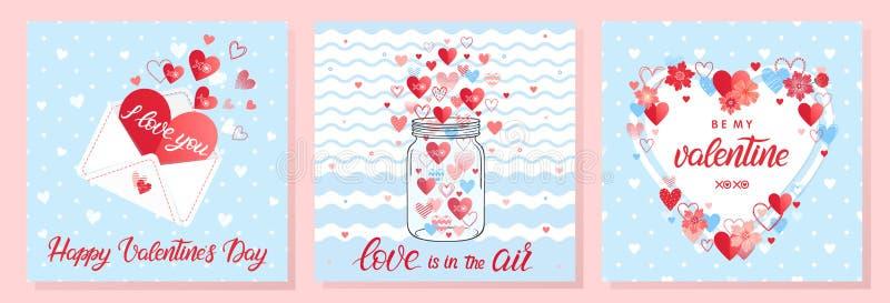 Samling av idérika valentindagkort stock illustrationer