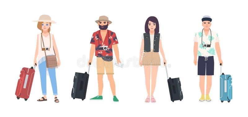 Samling av iklädd sommarkläder för manliga och kvinnliga handelsresande Uppsättning av män och kvinnaturister med resväskor moder vektor illustrationer