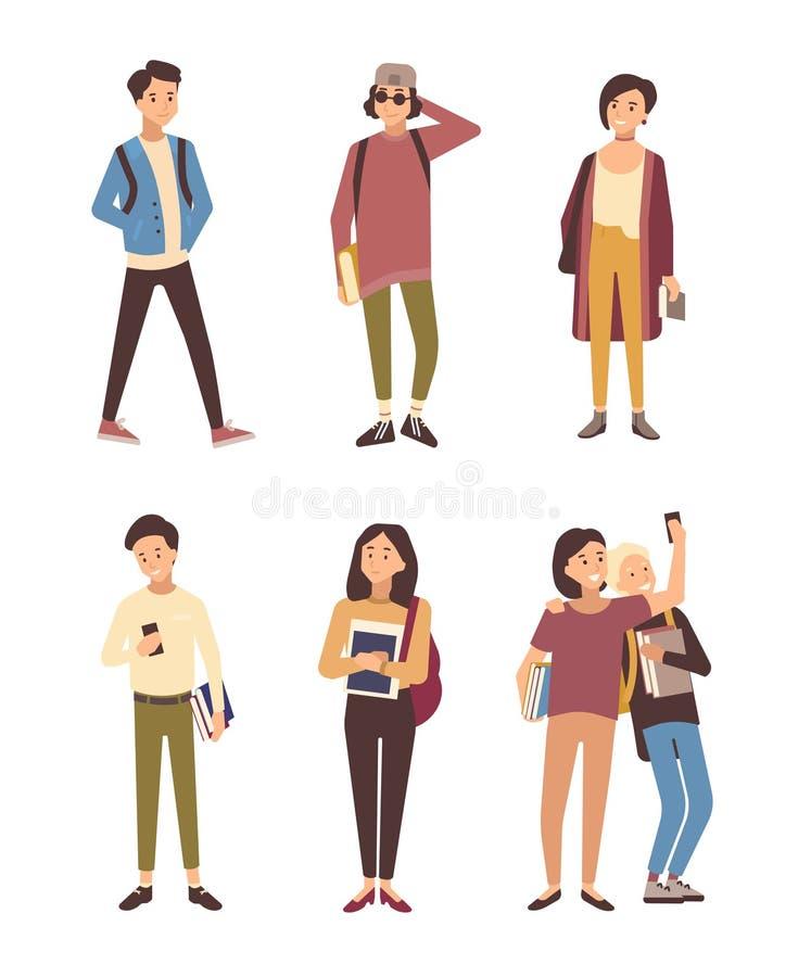Samling av iklädda moderna kläder för manliga och kvinnliga studenter som isoleras på vit bakgrund Uppsättning av unga män och vektor illustrationer