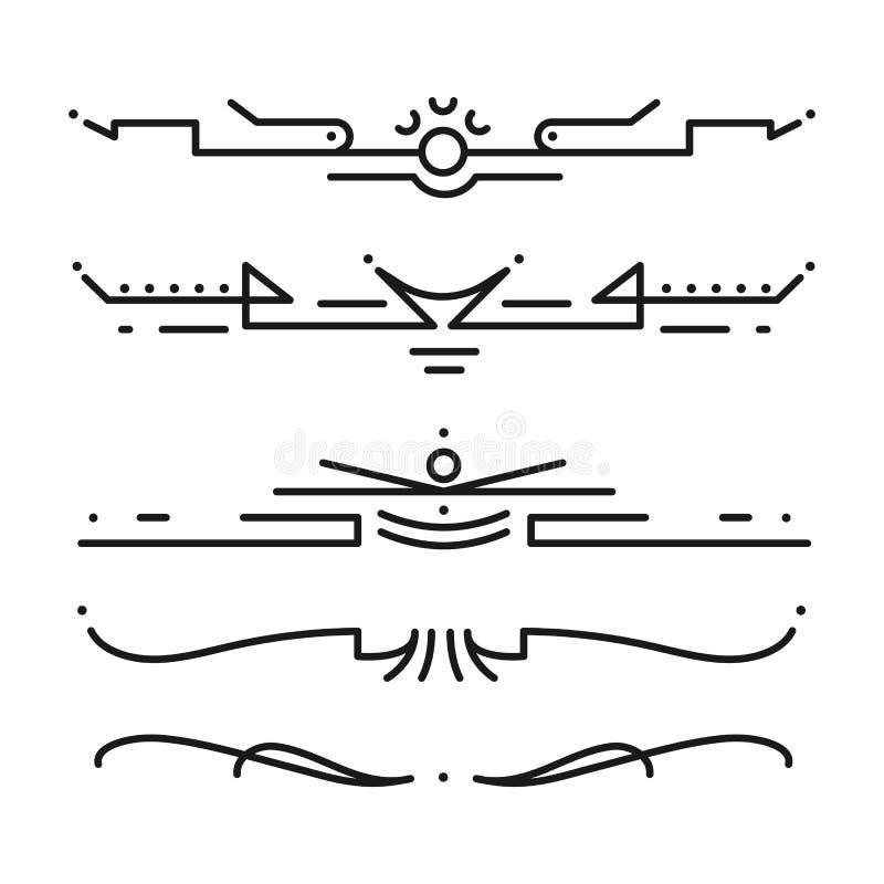 Samling av illustrationen för calligraphic för stil för vektoravdelare den dekorativa för tappning för gräns design för ram royaltyfri illustrationer