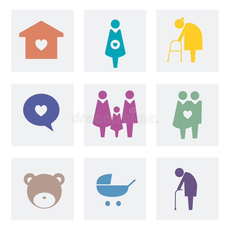 Samling av illustrationen för familjsymbolspictogram stock illustrationer