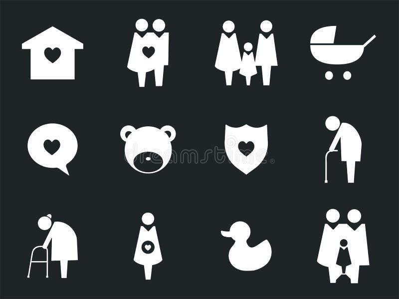 Samling av illustrationen för familjsymbolspictogram vektor illustrationer