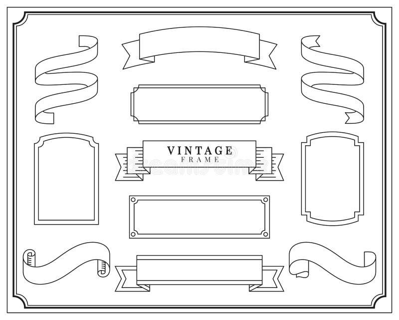 Samling av illustrationen för tappningprydnadram vektor illustrationer