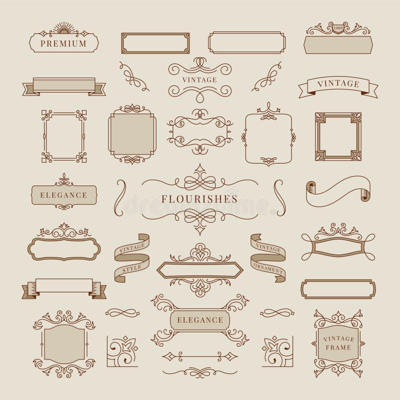 Samling av illustrationen för tappningprydnadram stock illustrationer