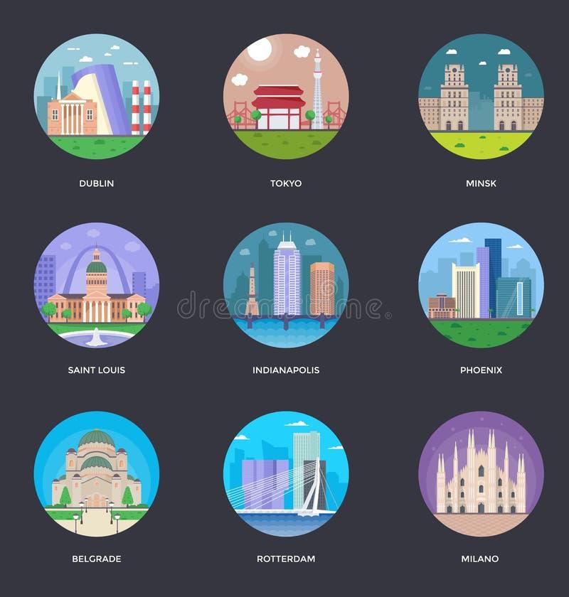 Samling av illustrationen för världsstadsvektor stock illustrationer