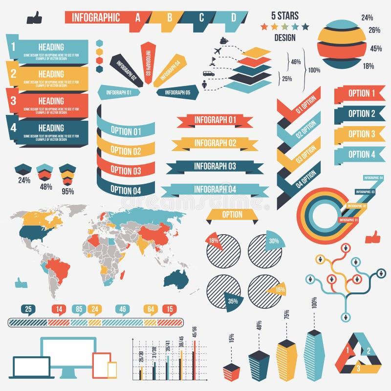 Samling av infographfolkbeståndsdelar för affär också vektor för coreldrawillustration Infographic pictograms Infographs och stock illustrationer