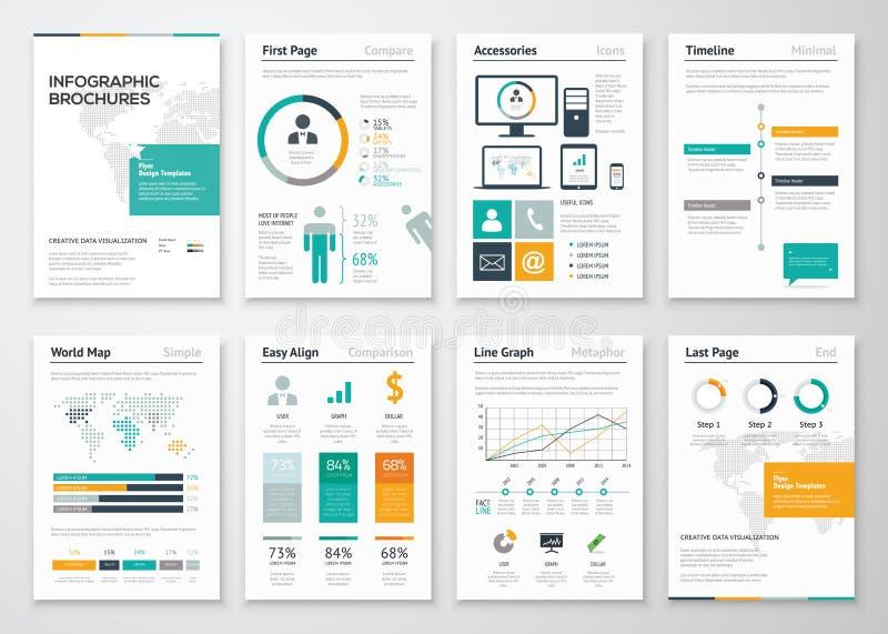Samling av infographic broschyrvektorbeståndsdelar för affär royaltyfri illustrationer