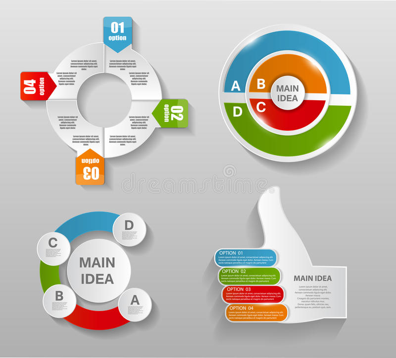 Samling av Infographic mallar för affär stock illustrationer