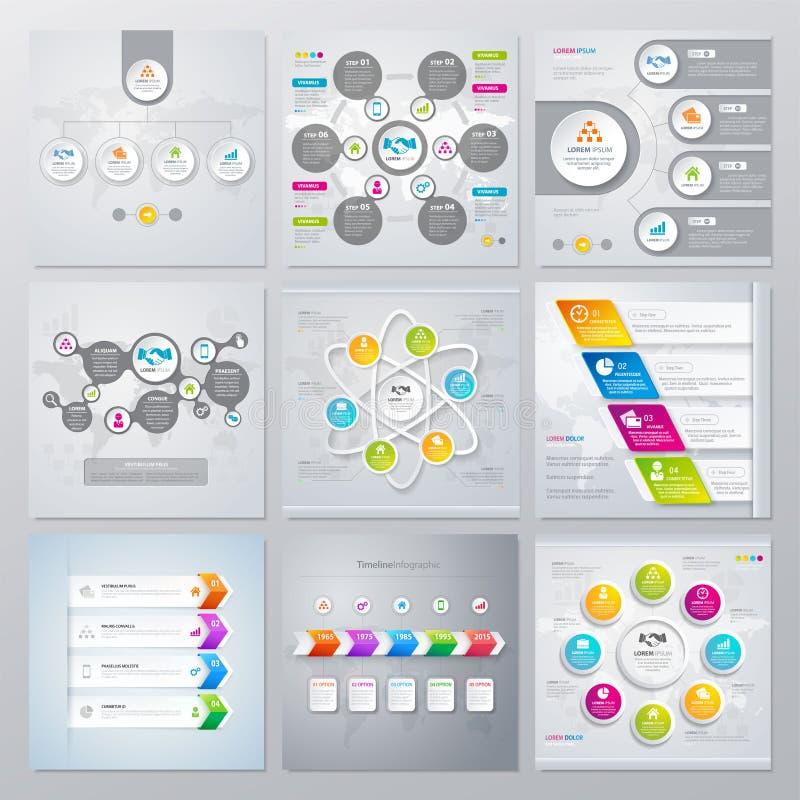 Samling av infographicsbeståndsdelar i modern plan affärsstil stock illustrationer