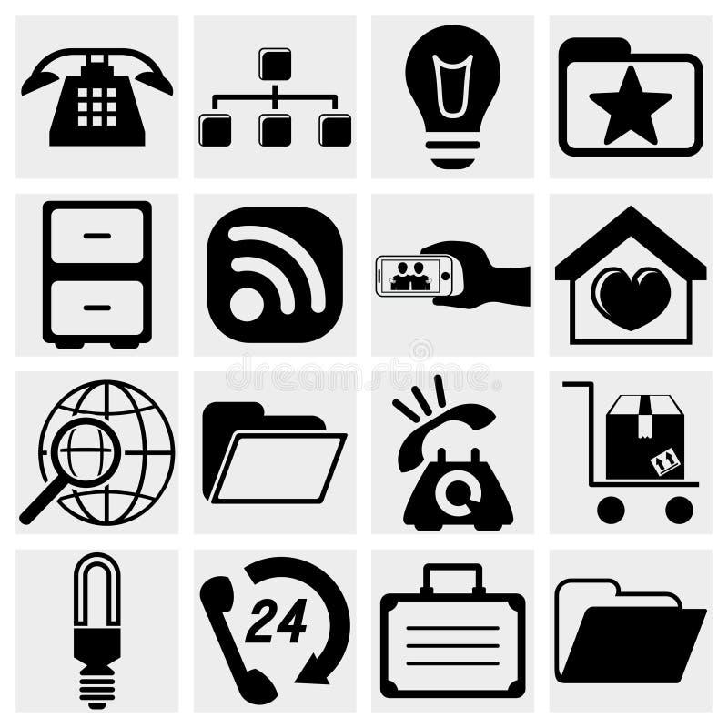 Fastställda internetsymboler. Rengöringsduk kommunikationssymbolsvecto stock illustrationer