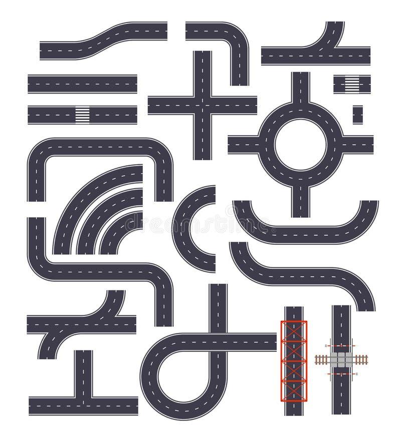 Samling av isolerade connectable huvudvägbeståndsdelar Gatavägar med vandringsled, tvärgator och järnvägbeståndsdelar överkant stock illustrationer