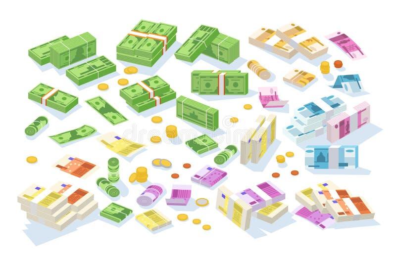 Samling av isometriska kontanta pengar Uppsättning av olika valutor - dollar, euro, rubelräkningar eller sedlar i rullar och stock illustrationer