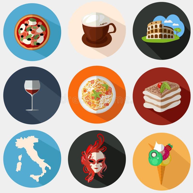 Samling av italienska symboler i en plan stil stock illustrationer