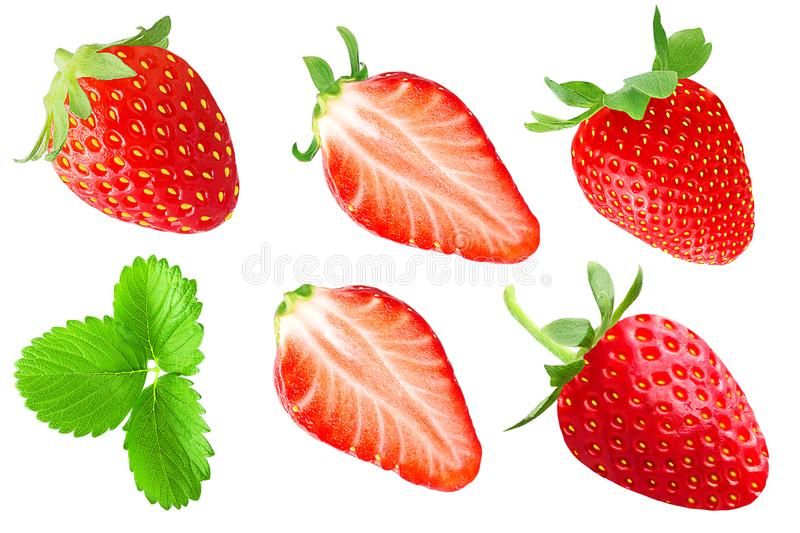 Samling av jordgubbefrukter som isoleras på vit royaltyfri bild
